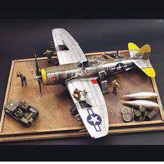 "Republic P-47N Thunderbolt ""Ie Shima 1945"" Unknown modeler From:pinterest #scalemodel #plastimodelismo #miniatura #miniature #miniatur #hobby #diorama #humvee #scalemodelkit #plastickits #usinadoskits #udk #maqueta #maquette #modelismo #modelism"