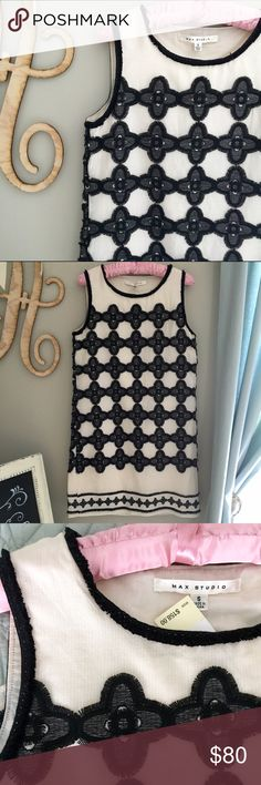 "NWT Maxstudio shift dress Sleeveless embroidered shift dress.                   - - Scoop neck - Sleeveless - Allover embroidered pattern - Frayed contrast trim - Lined - Approx. 36"" length - ImportedScoop neck - Sleeveless - Allover embroidered pattern - Frayed contrast trim - Lined - Approx. 36"" length - Imported Max Studio Dresses"