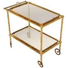 $4000 Stylish Vintage French Faux Bamboo Dessert, Bar or Tea Cart