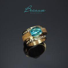 Handmade brass ring with zirconias