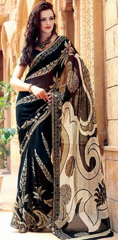 USD 143.72 Black Satin Printed Saree 28385