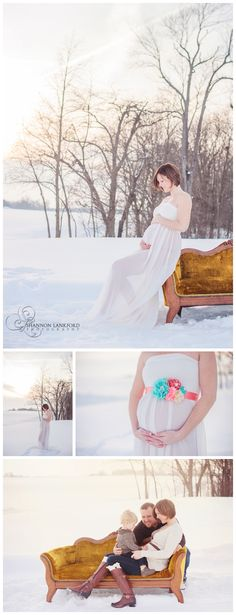 outdoor snow maternity portraits, shannon lankford photography, white maternity gown