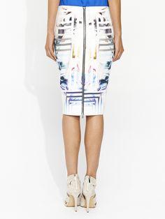 Floral Maze Zip Back Skirt   Portmans