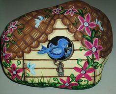 Hand Painted Rock by LP, Blue Bird House, Butterflies, Flowers, Painting, Art,