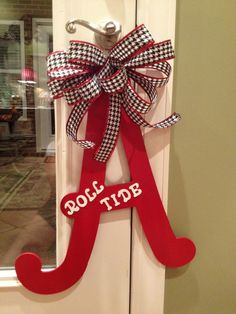 Alabama A door decor/Red and White with Houndstooth ribbon via Etsy