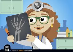 Cartoon Doctor Woman looking radiography. Nice vector for using in health or hospital promos. Under Commons 4.0. Attribution License.