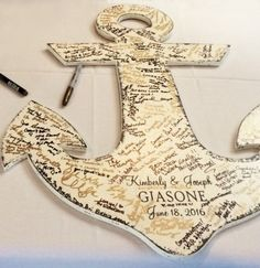 The guest book. #anchor #gulfcoast #wedding #decor #florida