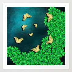 Art Print clover and butterflies by Wendy Townrow on Society6