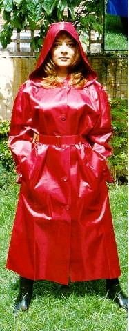 Red rubberlined satin mac