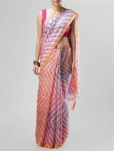 Pink-Yellow Kota-Silk Leheriya Saree