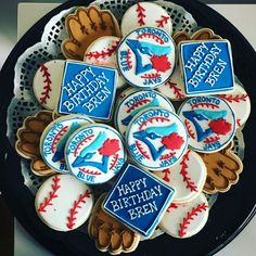 Toronto blue jays cookies Sugar cookies Baseball cookies Toronto Blue Jays