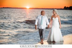 Diana & Mike sunset after Wedding session at Harkness Memorial State Park