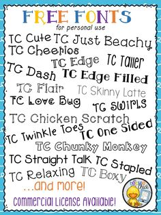 Lots of FREE fonts for personal use by The Techie Chick! (Commercial license av… Lots of FREE fonts for personal use by The Techie Chick! (Commercial license available) Beginning Of School, Back To School, School Stuff, Fancy Fonts, Fun Free Fonts, Teacher Fonts Free, Free School Fonts, Cricut Fonts, Teacher Resources