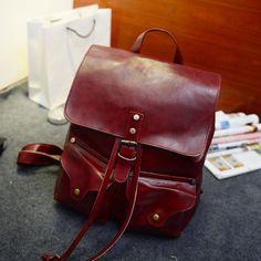 Vintage Leather Backpack Women Fashion Large Drawstring Rucksack School Travel Bag For Teenage Girls mochila Black Brown XA480H