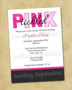 Tickled Pink Girl Baby Shower Invitations