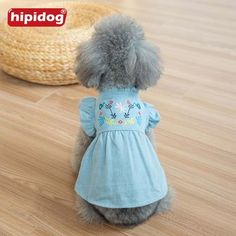 5a512d4663 Hipidog Embroidery Dog Clothes Cat Jeans Denim Dress Pet Flower Sleeves Clothes  Apparel Costume XS-XL for Small Dog Chihuahua