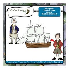 In 1770 Captain Cook charted the East coast of Australia for the first time. He was accompanied on his journey by a botanist named Joseph Banks. This set includes three images in jpeg, png and blackline versions files in total). All images are 300 dpi. Explorers Unit, Early Explorers, Teaching History, Teaching Resources, Cooking Clipart, First Fleet, Real Teacher, James Cook, Art Worksheets