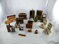 LOT OF VINTAGE ~ WOOD DOLLHOUSE FURNITURE ~ SOME MAY BE HOMEMADE look at fireplace and sofa