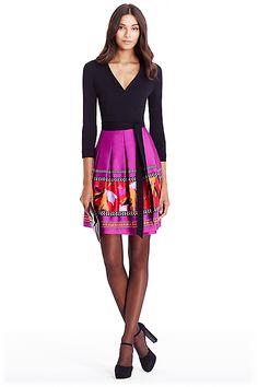 DVF Jewel Silk Combo Wrap Dress in Black/ Floral Bands Beet