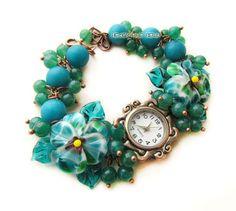 """""""Морская зелень"""" наручные часы с бусинами лэмпворк - тёмно-бирюзовый,часы"""