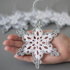 Crochet snowflakes White silver decor Christmas tree ornament Christmas decoration Hand crochet silver edge Winter wedding decor