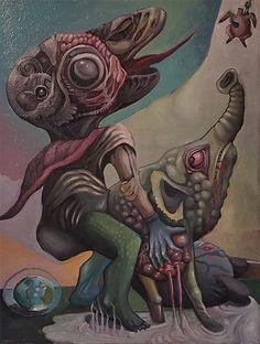 Zesłanie ducha hedonii, 2011 r. olej/płótno, 80 x 60 cm DESA: Aukcja Młodej Sztuki