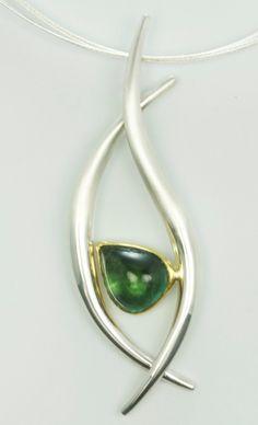 Blue Green Tourmaline Hollow Form Pendant in Argentium Silver and 22 Karat Gold by JodyOchsJewelry on Etsy