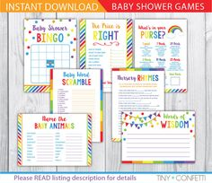 rainbow baby shower games, colorful baby shower games, girl, boy, gender neutral, bingo, the price is right, advice card, baby animals by TinyConfetti