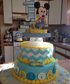 Personalized Name Baby Mickey Mouse 1st First One Cake