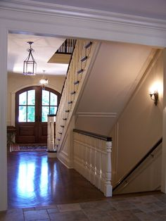 rajiling to downstairs on floor Baluster: G    Rail:  G with Caps  Newel:  G   Stair Style: Open end  with Stringer Brackets Starting Application: Half Circle with Volute