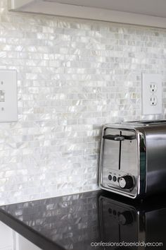 How to Install a Mother of Pearl Tile Backsplash - Modern Kitchen Furniture, Kitchen Decor, Kitchen Ideas, Mother Of Pearl Backsplash, Outdoor Kitchen Design, Home Remodeling, Kitchen Remodel, Kitchen Renovations, Layout