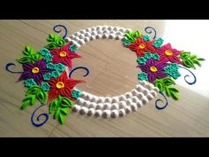 Super creative and innovative beautiful FLOWERS rangoli design/easy & simple rangoli design by jyoti Rangoli Designs Flower, Rangoli Border Designs, Colorful Rangoli Designs, Rangoli Designs Diwali, Diwali Rangoli, Flower Rangoli, Beautiful Rangoli Designs, Colour Rangoli, Indian Rangoli