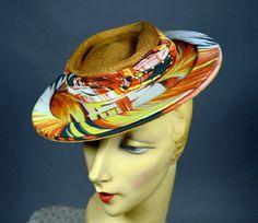 GOLDEN STRAW & LEAFY RAYON JERSEY PRINT 40's VINTAGE TILT HAT - LISETTE MODES - Available for sale at rpvintage.com