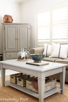 Gray chalk paint coffee table and cabinet makeover.  Try Poet's Paint in Driftwood Grey or Stonehenge for the coffee table and Cashmere for the greige toned cabinet.