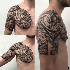shoulder tattoo dragon maori style