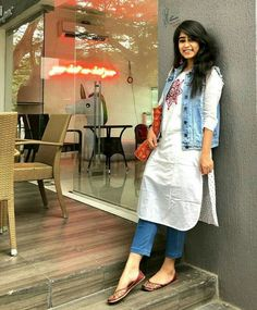 51 Stylish Office Jeans Ideas To Try Right Now is part of Kurti with jeans - Clothes are readily available to all that will downplay what we don't like, but, what's more, enhance that which we […] Kurta Designs Women, Salwar Designs, Kurti Designs Party Wear, Denim Kurti Designs, Designer Kurtis, Indian Designer Suits, Casual Indian Fashion, Indian Outfits, Western Outfits