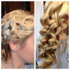 Over night and no heat curls – You take two or three fingers depending on how big you want the curls. Wrap the hair around and then bobby pi...