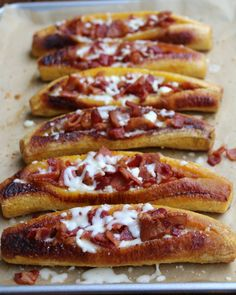 Baked ripe plantains with bacon and cheese