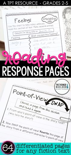 Get students thinking deeply about their reading! A huge collection of response pages designed in an engaging notebook format. Use individually or create customized reader's notebook packets. Use with virtually any piece of literature. Differentiated at three levels. Common Core aligned. Perfect for guided reading, book clubs, and practicing key reading skills. (Gr 2-5) $ Reading Strategies, Reading Skills, Teaching Reading, Reading Comprehension, Guided Reading, Reading Activities, Comprehension Activities, Teaching Ideas, Learning