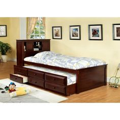 Furniture of America Brighton Twin Bookcase Headboard Storage Bed from Twin Bed With Drawers And HeadboardTwin Bed with Twin Bed With Drawers, Bed Frame With Storage, Bed Storage, Storage Drawers, Extra Storage, Storage Headboard, Headboard Ideas, Twin Captains Bed, Twin Trundle Bed