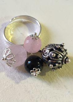 """""""Anello - ring - quarzo rosa e onice - Su Coccu -"""