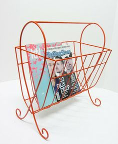 images of burnt orange firewood holder | Vintage Retro Orange Magazine Rack from Etsy seller fishbonedeco, $48