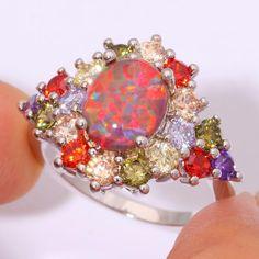 Orange Fire Opal Multigem Silver Ring   matans store.myshopify.com