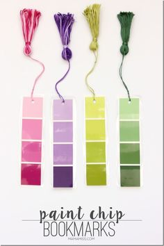 Paint Chip Bookmarks - a simple & inexpensive way to create a pretty little bookmark!   @mamamissblog