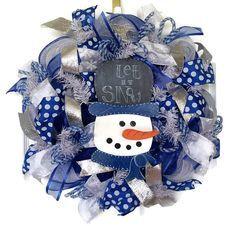 Winter Wreath, Snowman Wreath, Silver Wreath, Deco Mesh Wreath, Christmas Wreath, Blue Wreath, Winter Decor, Holiday Wreath, Let It Snow for $80.00 by Kayla's Kreations www.kaylaskreationstx.etsy.com