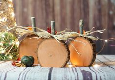 "Rustic Wooden Pumpkins - Set of Three. Log Slices with Branch Stems - Hand Painted ""Pumpkin Orange"" Display on Tabletop, Mantle, Porch or Hang in your Favorite Wreath. Approx. Size: 4-6"" Diameter Plea"