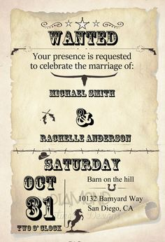 Wild West Wedding Invitation by RachellesInvites on Etsy, $15.00