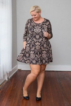 Plus Size Clothing for Women - Adra Damask Print Trapeze Dress - Black/Taupe - Society+ - Society Plus - Buy Online Now! - 1