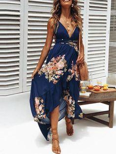e41f30608dcf Bohemian Deep V Collar Sleeveless Backless Printing Vacation Dress