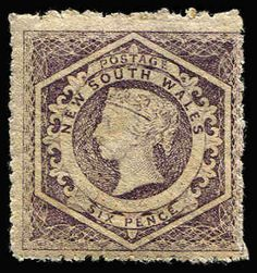 NEW SOUTH WALES 1860-72 Diadems Wmk Double-Lined Numeral Perf 13 6d violet Wmk '12' (inverted) SG #165b, MLH with large-part og, Cat £700.